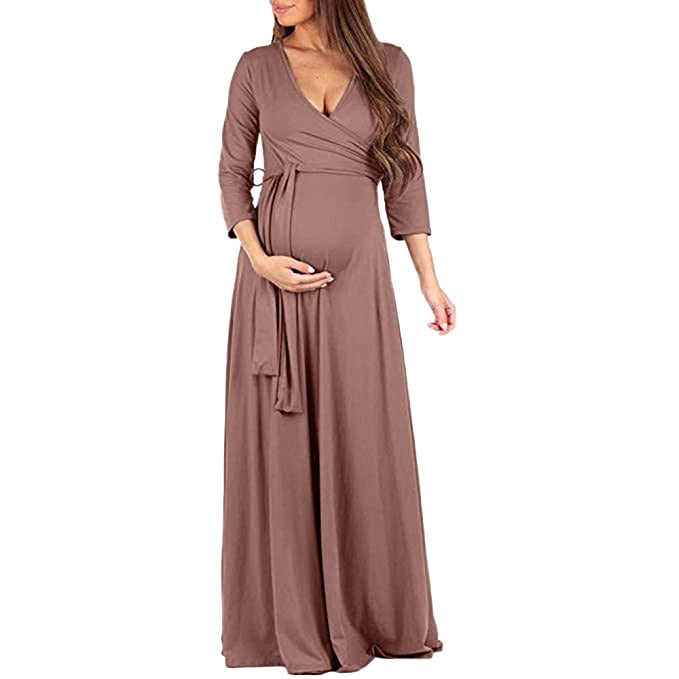 0a76552820f72 Riverdalin Women Maternity Long Maxi Dress Pregnancy Solid Color Formal  Dress for Photography Brown