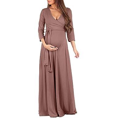 696fa8c35f4 BOLUOYI 2019 Sale! Maternity Tee Shirt Dresses for Women Women s Pregnancy  V Collar Long Sleeve