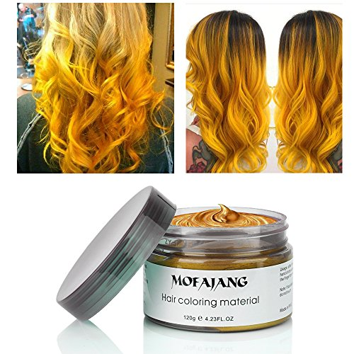 MOFAJANG Hair Coloring Wax, Temporary Hairstyle Cream 4.23 oz, Hair Pomades, Natural Ash Matte Hairstyle Wax for Men and Women (Gold) ()