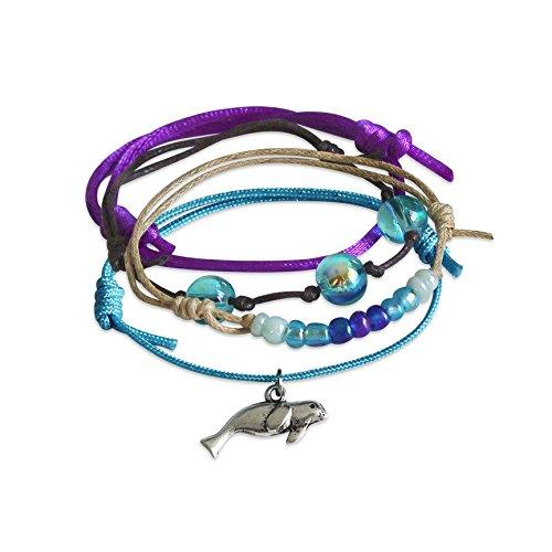 Seal Charm Bracelet - 4 adjustable bracelets, purple blue cord bracelet with silver seal charm, stackable bracelets, nautical jewelry, beach bracelet, boho jewelry, fun gift, summer, back to school