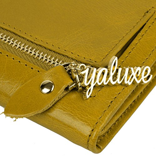 YALUXE Women's Compact Small Leather Tri-fold Wallet with Zipper Pocket(Gift Box) Yellow by YALUXE (Image #4)