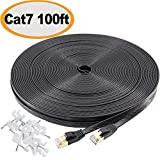 Jadaol Cat 7 Ethernet Cable 100 ft Black 10GB Fastest Shielded (STP) Computer Internet Cable - Flat LAN Network Cable with Snagless Rj45 Connectors– 100 feet Black (30 Meters)