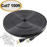 Cat7 Ethernet Cable 100 Ft Flat, jadaol Shielded (STP) Network Cable Cat 7