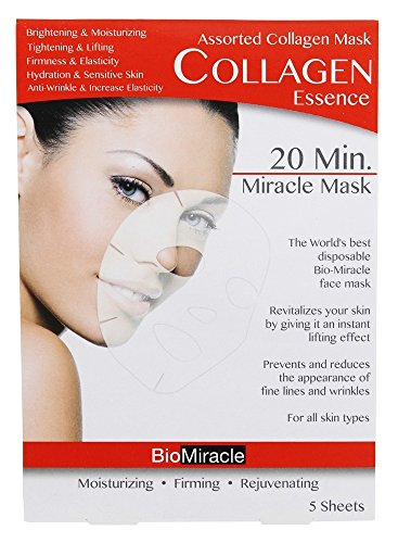 BioMiracle - 20 Minute Miracle Assorted Collagen Essence Face Mask - 5 Count