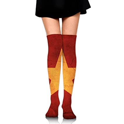 Ladies//Womens Red Over the Knee Socks with Multi Coloured Spots