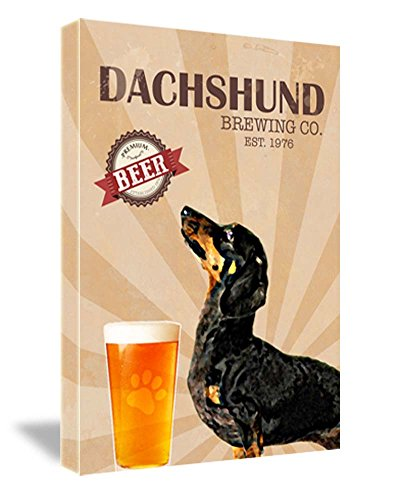 (Ideogram Designs Framed Canvas Print Dachshund Brewing Co. Cute Vintage Dog Print 16''W x 22