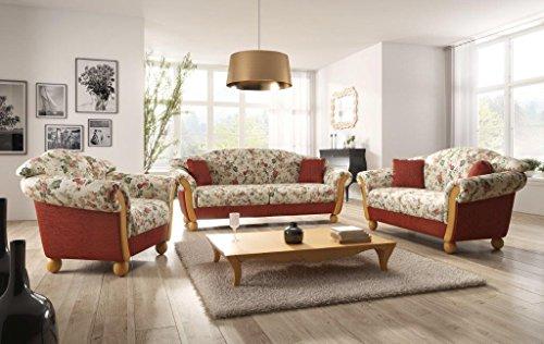 Landhaus Sofa Garnitur Locarno 3 2 1 Mit Holzchatose Landhausstil