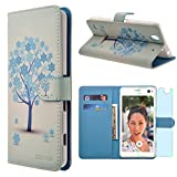 Sony Xperia C4 Case, INNOVAA Premium Leather Wallet Case with STAND Flip Cover W/ Free Screen Protector & Touch Screen Stylus Pen - Winter Tree