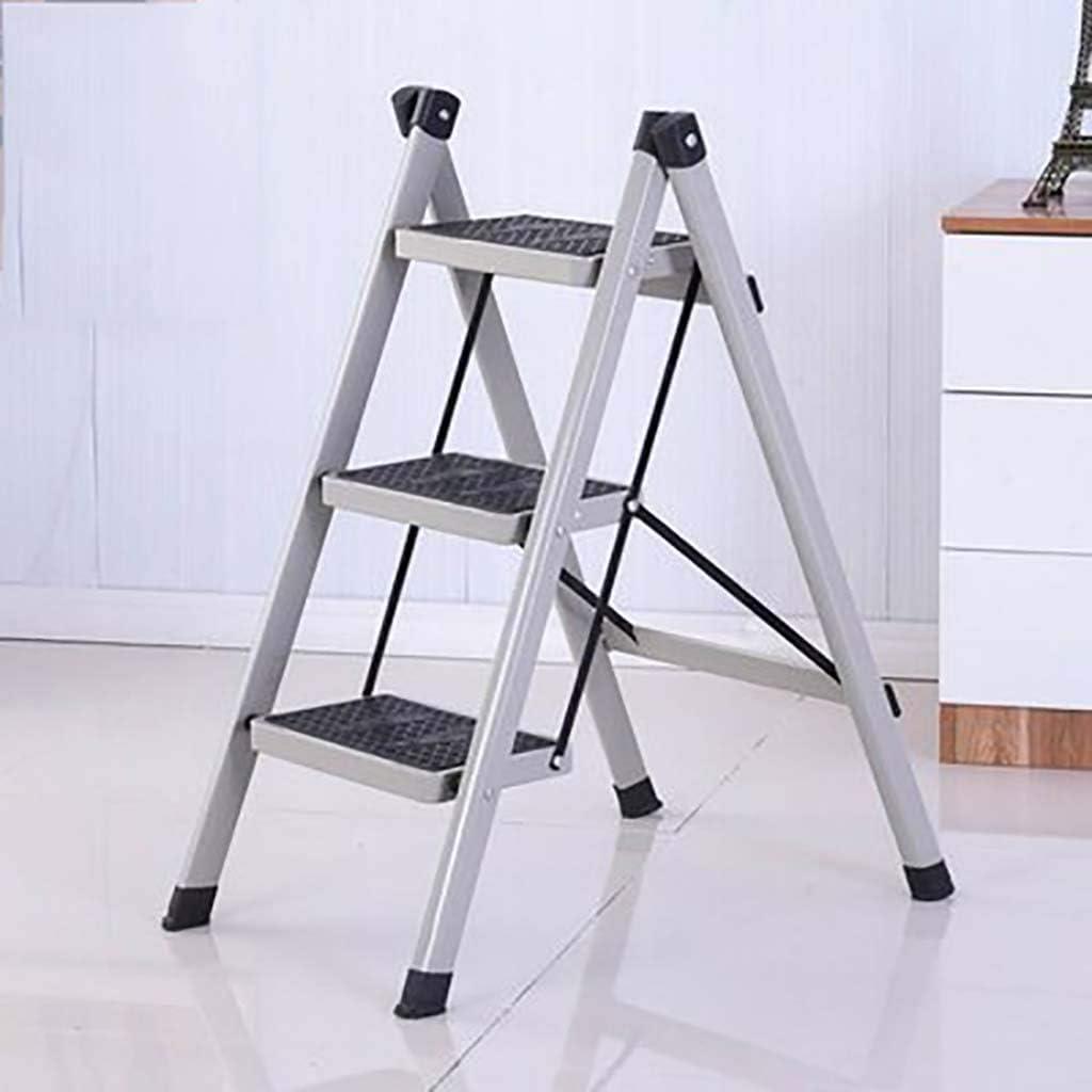 Escalera de 3 peldaños, escalera plegable antideslizante, escalera de hierro, taburete multifuncional para el hogar, gris: Amazon.es: Bricolaje y herramientas