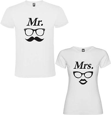 DALIM Pack de 2 Camisetas Blancas para Parejas, Mr. II y Mrs. II Negro: Amazon.es: Ropa y accesorios