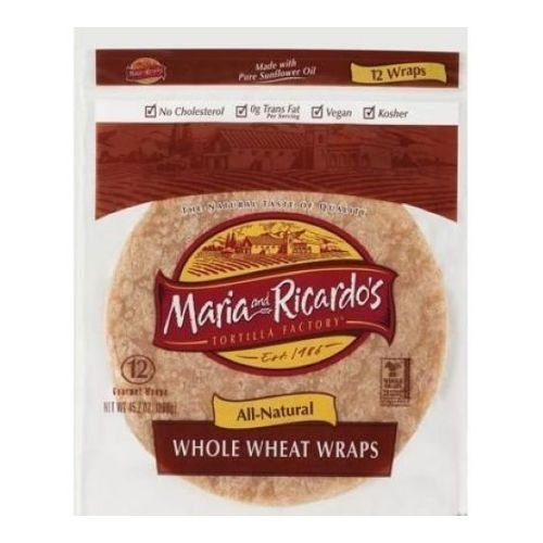 Maria and Ricardos Organic Whole Wheat Tortilla, 8 inch -- 48 per case. by Maria and Ricardos