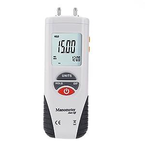 Digital Manometer, Portable Handheld Air Vacuum/Gas Pressure Gauge Meter 11 Units with Backlight, ±13.78kPa ±2PSI, Suitable for Differential Pressure of 1-2 Pipes, Ventilation HVAC
