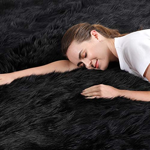 51dAVYAYN9L. AC Ophanie Ultra-Luxurious Fluffy Rectangle Area Rug, Soft and Thick Faux Fur Chair Couch Cover Small Shaggy Rug Non-Slip Carpet for Bedroom, Kids/Baby Room, Modern Decor Rug, 2x3 Feet, Black    Product Description