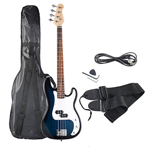 Safstar Electric Bass Guitar Full Size 4 Strings with Amp Cord Strap Carrying Bag for Starters Beginners (Blue)