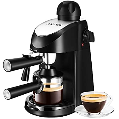Aicook Espresso Machine, 3.5Bar Espresso Maker, Espresso and Cappuccino Machine with Milk Frother, Espresso Maker with Steamer, Black