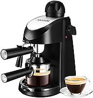 Aicook , Cafetera, Cafetera Espresso, Cafetera de hidropresión, Para espresso y cappuccino con vaporizador, 4 tazas de café, Presión de 3,5 bares, 800W, Color Negro