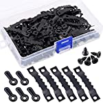 Swpeet 160Pcs Picture Hangers Kit, Including 80Pcs Sawtooth Picture Frame Hanging Hangers Double Hole and 80Pcs Photo Frame Turn Button with Screws Perfect for Home Decoration - Black