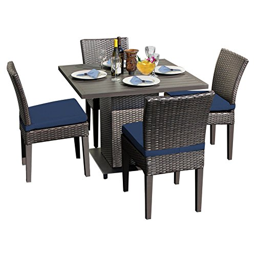 TK Classics Napa Square Outdoor Patio Dining Table with 4 Chairs, 18