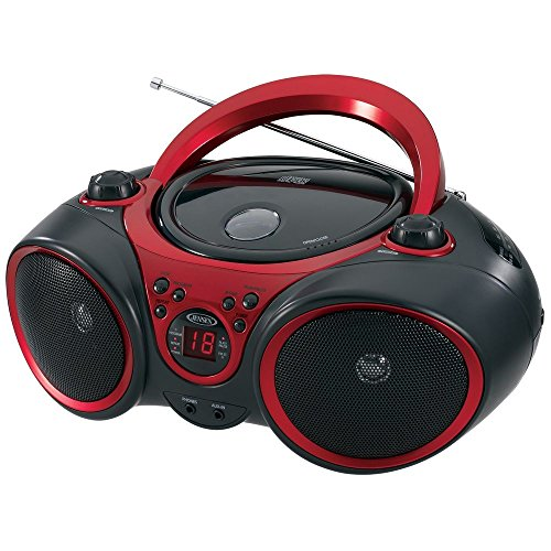 Jensen CD-490 Sport Stereo CD Player with AM/FM Radio and Aux Line-In, Red and Black (Cd Player Aux In)