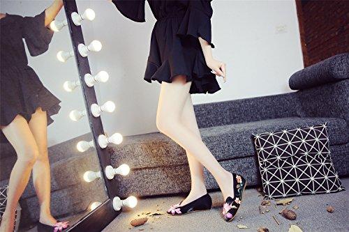 Lotus Bordado Negro Mujeres pie del tridimensionales de la del de Las Zapatos Mocasín del la Punta de Flor de AB6qnRWU