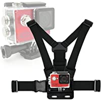 Black, Fully Adjustable Chest Strap Mount With Screw Adaptor Compatible with the EasyPix GoXtreme Rallye | Vision 4K | Wifi Speed | Wifi View | Endurance Action Camera - by DURAGADGET