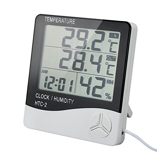Clock + LCD Digital Hygrometer Humidity Thermometer Temperature Meter In/Outdoor - 6