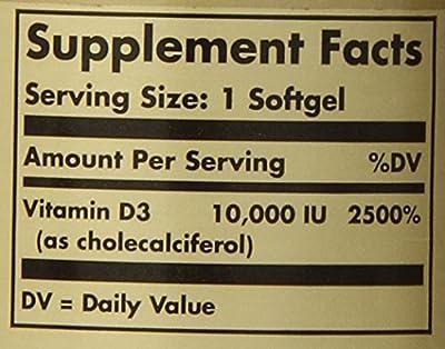 Solgar Vitamin D3 (Cholecalciferol) 250 mcg (10,000 IU), Maintains Healthy Bones and Teeth, Non-GMO, 120 Softgels