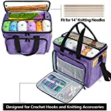 """Teamoy Knitting Bag, Yarn Tote Organizer with Inner Divider (Sewn to Bottom) for Crochet Hooks, Knitting Needles(Up to 14""""), Project and Supplies, Purple -No Accessories Included"""