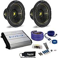 """Kicker Two 44CWCS104 10"""" CompC Subwoofers & Hifonics ZXX-1200.1D ZEUS 1200 Watt Amplifier & Wiring Kit"""