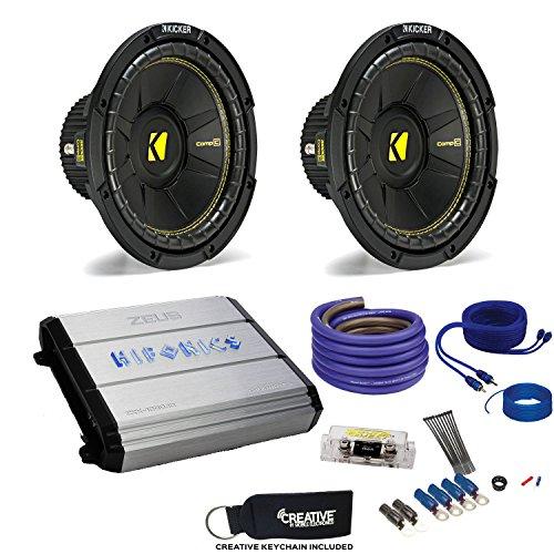 """10"""" CompC Subwoofers & Hifonics ZXX-1200.1D Zeus 1200 Watt Amplifier & Wiring Kit ()"""