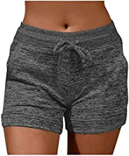Xinantime Womens Cute Dog Paw Print Sport Short Pants Casual Drawstring Elastic Quick-Dying Daily Yoga Pants w