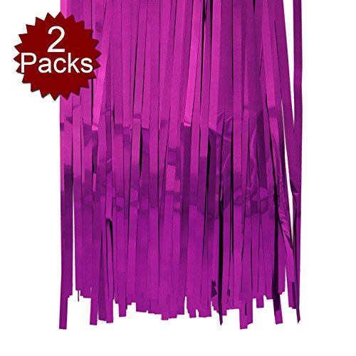 Aspire Foil Fringe Curtain (Set of 2) Metallic Photo Booth Tinsel Backdrop Door Curtains - Perfect for Christmas & New Years Eve Party-Rose red-3'x8'