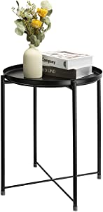 danpinera End Table, Side Table Mental Waterproof Small Coffee Table Sofa Side Table with Round Removable Tray for Living Room Bedroom Balcony and Office (Black)