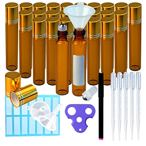 l Essential Oil Roller Bottles Amber Glass 6 Extra Roller Balls, Opener, 6 Funnels, 5pcs 3ml Droppers, 1 Marker Pen with labels For Essential Oils, Roll on Bottles ()