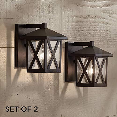 Elkins Rustic Outdoor Wall Light Fixtures Set of 2 Black 7 1/2