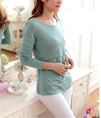 Allattamento Girocollo Elegante Classico Bluse Manica Top Green Shirt Tinta Maglietta Strati Bluse BESTHOO Lunga T Unita Top Donna Doppi azHBZqw5