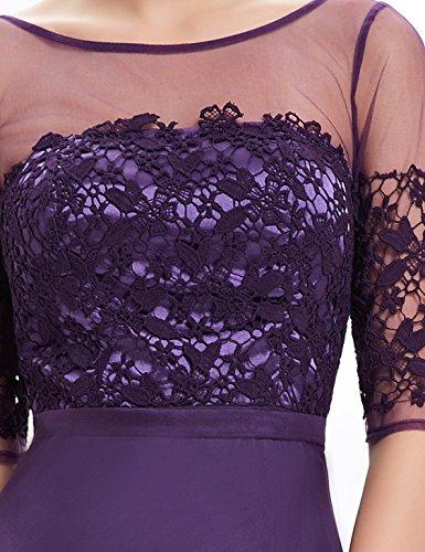 2 Violett Halbtransparent 1 Lace Aermel Ausschnitt Chiffon Ever Pretty 08459 Lang Abendkleid V qSwYYE