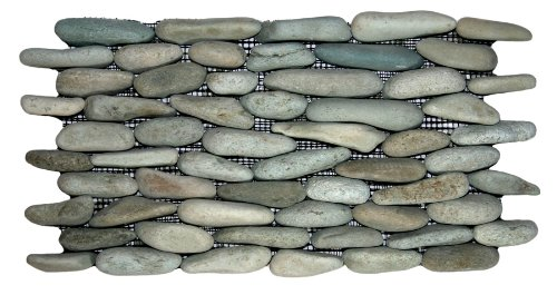 Sea Green Standing Pebble Tile 1 piece (Mesh Mounted)