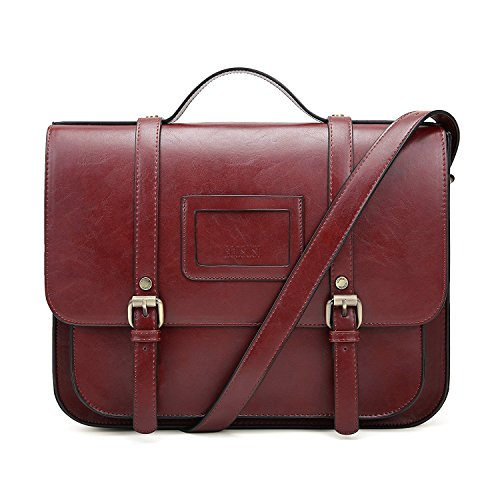 ase Vintage Crossbody Messenger Bag PU Leather Satchel Purse, Red (Womens Red Leather Briefcase)