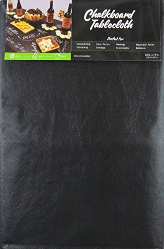 Black Chalkboard Vinyl Tablecloth with Flannel Backing -Perfect for Customizing Your Parties - Housewarming, Birthdays, Engagements, Anniversaries, Weddings and More! (60 inch X 84 inch Oblong)
