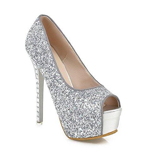 Adee Mujer Lentejuelas high-heels material suave sandalias Plateado - plata