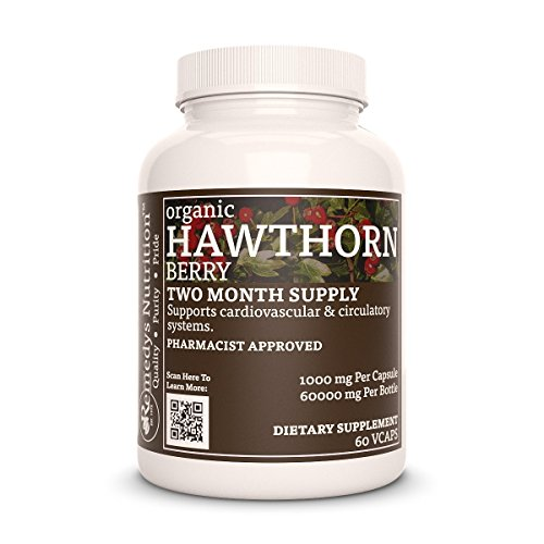Hawthorne Berry Remedys Nutrition MEGA STRENGTH 1000 mg per capsule/ 2000 mg daily/ 60000 mg per bottle Organic Vegan VCaps (Crateagus Oxycanthus)