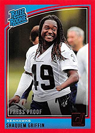 2018 Donruss Press Proof Red Football  346 Shaquem Griffin Seattle Seahawks  Rated Rookie 7cedd735f