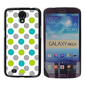 TopCaseStore / la caja del caucho duro de la cubierta de protección de la piel - Green Blue White Fun Playful - Samsung Galaxy Mega 6.3 I9200 SGH-i527