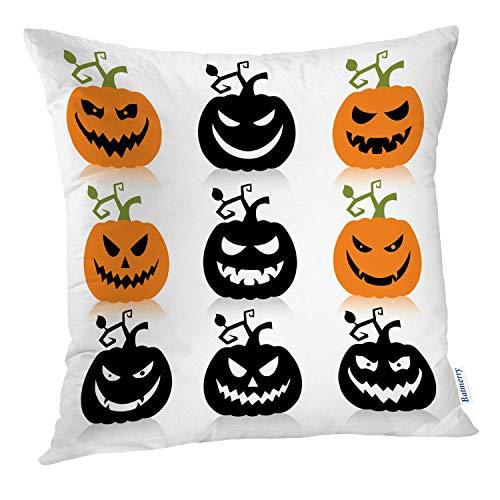 Batmerry Halloween Pillow Covers 18x18 inch, Scary Halloween Silhouette Simple Spooky Black Evil Art Head Throw Pillows Covers Sofa Cushion Cover Pillowcase Home Gift -
