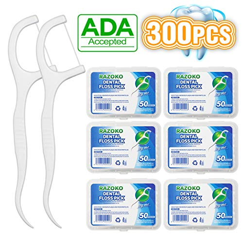Dental Floss Picks High Toughness Toothpicks Sticks 6-Pack(300pcs) with Portable Case and Dental Picks Perfect for Family,Hotel,Travel