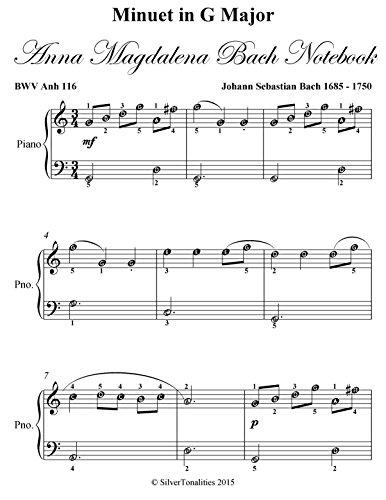 Minuet in G Major Anna Magdalena Bach Notebook Easiest Piano Sheet (Minuet In G Major Piano Sheet Music)