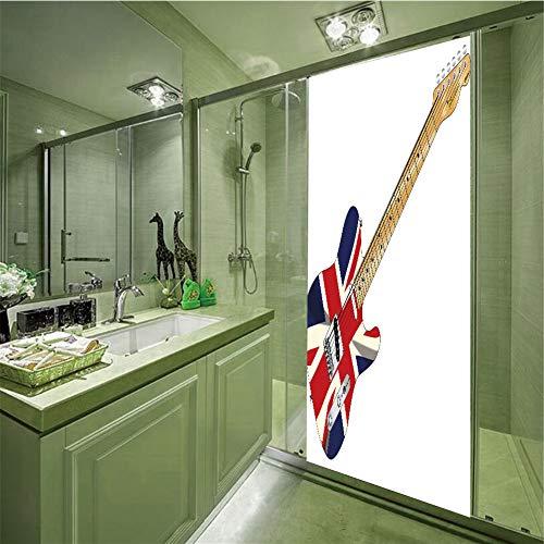 LIANDAYUNS sticker Decorative Privacy Glass Film,Union Jack,Classical Electric Guitar UK Flag Great Britain Music Instrument Decorative,Light Brown Silver Black,35.43