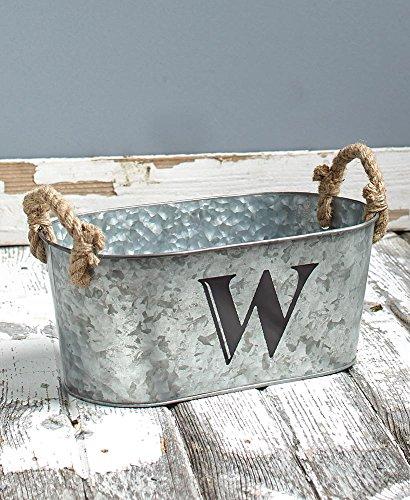 The Lakeside Collection Galvanized Monogram Bucket - W