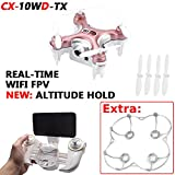 Cheerson CX-10WD-TX (+Propeller Guard) Real Time WiFi FPV **New Version: Altitude Hold and Transmitter** Mini Quadcopter Android / iOS RC 4CH 2.4GHz 6 Axis Nano Drone HD Video Camera (Pink)